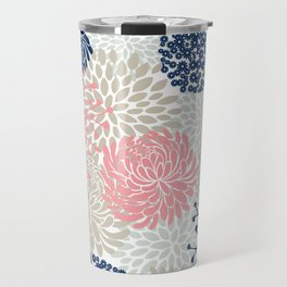 Floral Mixed Blooms, Blush Pink, Navy Blue, Gray, Beige Travel Mug