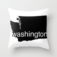 washington Throw Pillows featuring Washington by Isabel Moreno-Garcia