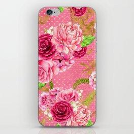 Pink & Gold Vintage Floral Pattern iPhone Skin