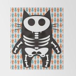 Meow Skeleton Throw Blanket