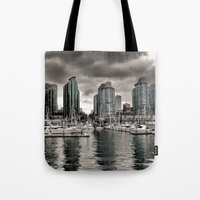 vancouver Tote Bags featuring Vancouver Waterfront by Anthony M. Davis