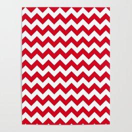 Red Chevron Print Poster