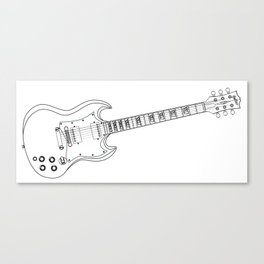 Solid Guitar Line Drawing Canvas Print