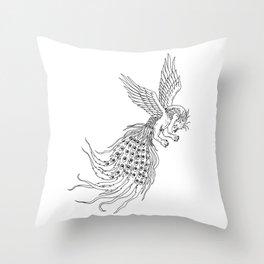 Simorgh or Simurgh Flying Drawing Throw Pillow