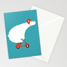 Polar bear on scooter Stationery Cards