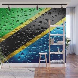 Flag of Tanzania - Raindrop Wall Mural