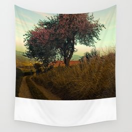Hiking trail, tree and summer morning   landscape photography Wall Tapestry