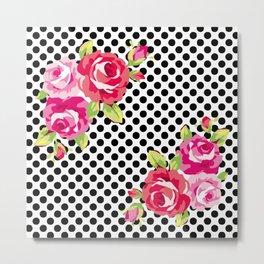 Roses on black dots Metal Print