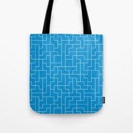 White Tetris Pattern on Blue Tote Bag