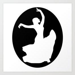 Flamenco White Dancer, Black Art Print