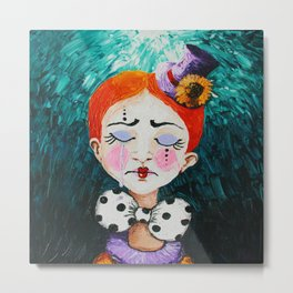 Ginger Clown with a Hat Metal Print