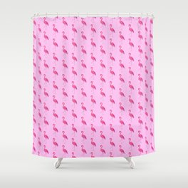 Coral Pink Flamingo Pattern Shower Curtain