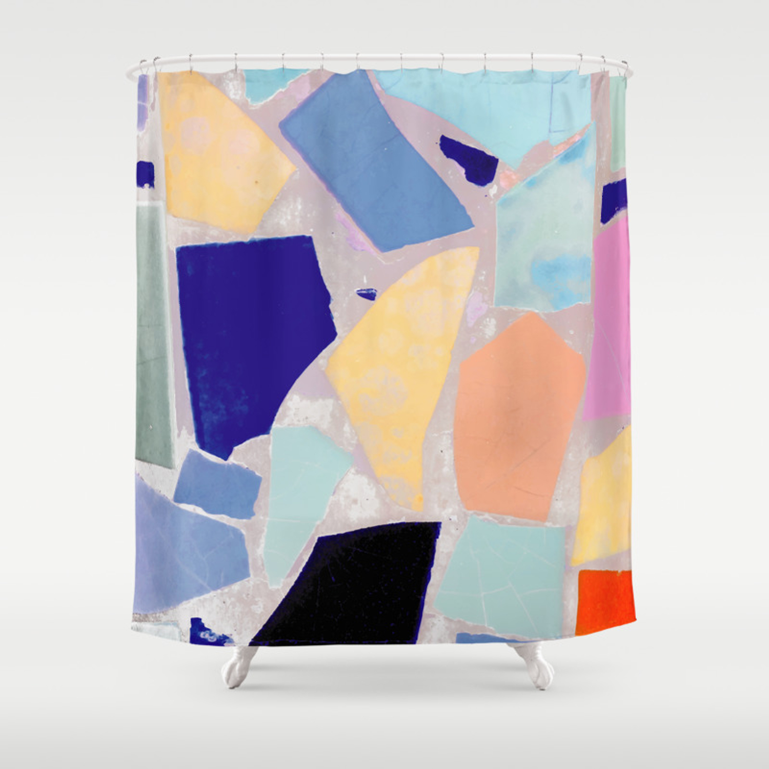 Multicolor Mosaic Shapeshifter Shower Curtain