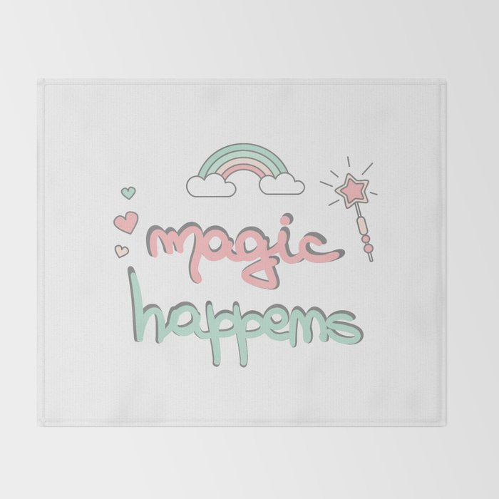 cute hand drawn lettering magic happens with magic wand, rainbow and hearts Throw Blanket
