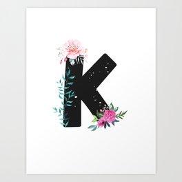 Letter K - Botanical English Alphabet, Name Initial Art Print