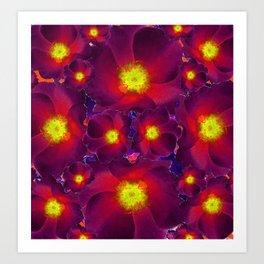 Dark Burgundy-Red-Yellow  Color Flower Pattern Art Design Art Print