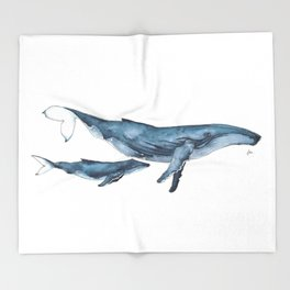 Whale & whale calf Throw Blanket