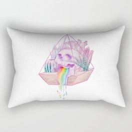 Rainbow Skull Succulent Crystal Garden Rectangular Pillow