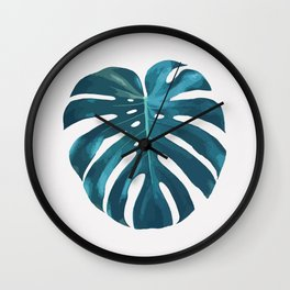 Monster palm leaf print Wall Clock
