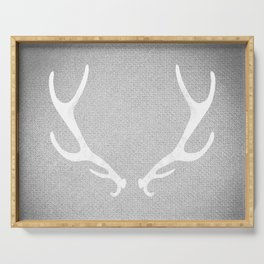 White & Grey Antlers Serving Tray