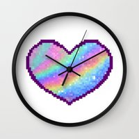 holographic Wall Clocks featuring Holographic Heart by Sombras Blancas Art & Design