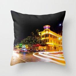 Art Deco Cardozo Hotel South Beach, Miami Night Scene Portrait by Jeanpaul Ferro Throw Pillow