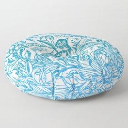 Songbird In Magnolia Wreath, Blue Linocut Floor Pillow
