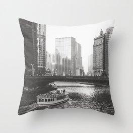 Dusk falls on Chicago Throw Pillow
