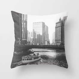 Dusk falls on Chicago Throw Pillow