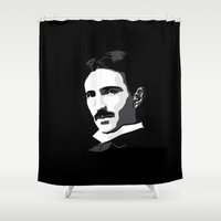 tesla Shower Curtains featuring Nikola Tesla by The Cracked Dispensary