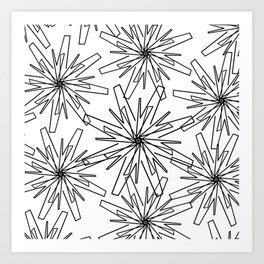 Modern abstract black  white geometric floral Art Print