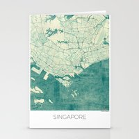 singapore Stationery Cards featuring Singapore Map Blue Vintage by City Art Posters