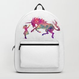 Girl and Unicorn Watercolor Silhouette Unicorn Gifts Fantasy Art Backpack