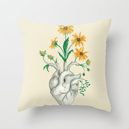 Floral Heart: Sunflower Human Anatomy Halloween Art Throw Pillow