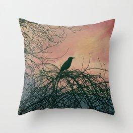 Raven Sunset Throw Pillow