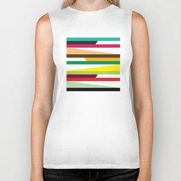 Geometric Pattern 73 (colorful stripes) Biker Tank