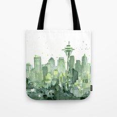Seattle Watercolor Painting Tote Bag