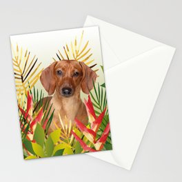 Little Dog with with Palm leaves Stationery Cards