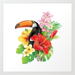 Tropical Toucan Collage Art Print