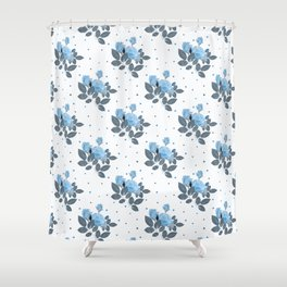 Blue roses and polka dots Shower Curtain