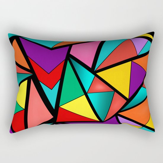 Abstract bright multicolored geometric pattern . 4 . Rectangular Pillow