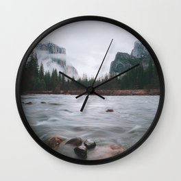 Yosemite Valley View with Fog | Yosemite National Park, CA Wall Clock