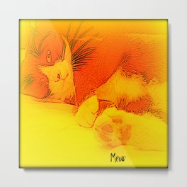 Me(ll)ow Yellow Metal Print
