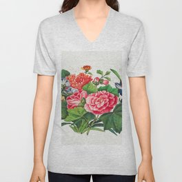 Chinese peony painting from the Qing Dynasty Unisex V-Neck