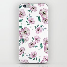 PINK FLOWERS WATERCOLOR iPhone Skin