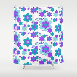 Turquoise Teal Blue and Purple Floral Shower Curtain