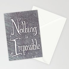 Nothing Is Impossible motivational print - hand lettered, calligraphy Stationery Cards