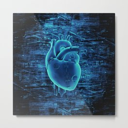 Gamer Heart BLUE TECH / 3D render of mechanical heart Metal Print