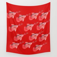 nba Wall Tapestries featuring ROCKETS HAND DRAWING DESIGN by SUNNY Design