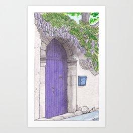 Violet Door surrounded by a violet Wisteria - Darker version Art Print
